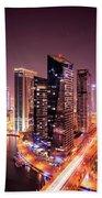 Colorful Night Dubai Marina Skyline, Dubai, United Arab Emirates Bath Towel