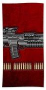 Colt  M 4 A 1  S O P M O D Carbine With 5.56 N A T O Rounds On Red Velvet  Hand Towel