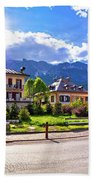 Cortina D' Ampezzo Street And Alps Peaks Panoramic View Bath Towel