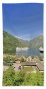 Cruise In Geiranger Fjord Norway Bath Towel