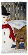 Curious Piglet And Snowman Bath Towel