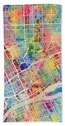 Detroit Michigan City Map Bath Towel