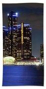 Detroit Skyline Panorama Bath Towel
