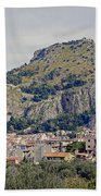Distant View Of Cefalu Sicily  Bath Towel