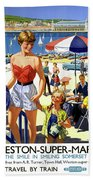 England Weston Super Mare Vintage Travel Poster Hand Towel