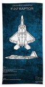 F22 Raptor Blueprint Bath Towel