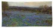 Field Of Bluebonnets At Sunset Bath Towel