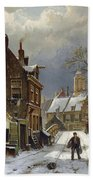 Figures In The Streets Of A Wintry Dutch Town Bath Towel