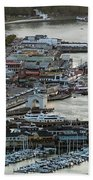 Fisherman's Wharf And Pier 39 Aerial Photo Hand Towel