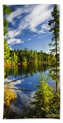 Forest And Sky Reflecting In Lake Hand Towel