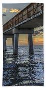 Fort Myers Beach Fishing Pier Hand Towel by Edward Fielding