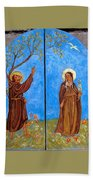 Francis And Claire Triptych Bath Towel