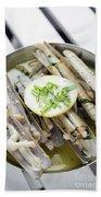 Fresh Razor Shell Seafood Steamed In Garlic Herb Wine Sauce Bath Towel