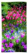 Garden Flowers With Tulips Bath Towel