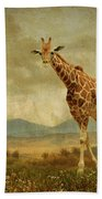 Giraffes In The Meadow Bath Towel