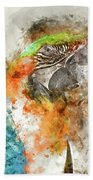 Green And Orange Macaw Bird Digital Watercolor On Photograph Bath Towel