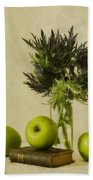 Green Apples And Blue Thistles Bath Towel by Priska Wettstein