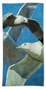 Gulls In Flight Bath Towel