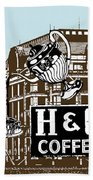 H And C Coffee Sign Roanoke Virginia Bath Towel