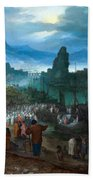 Harbour Scene With Christ Preaching Bath Towel