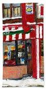 Original Montreal Paintings For Sale Peintures A Vendre Restaurant La Quebecoise Deli Bath Towel