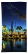 Honolulu Harbor By Night Bath Towel