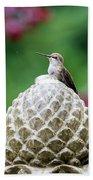 Hummingbird On Garden Water Fountain Hand Towel