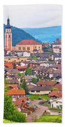 Idyllic Alpine Town Of Kastelruth On Green Hill View Bath Towel