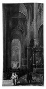 Interior Of A Gothic Church At Night Bath Towel