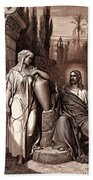 Jesus And The Woman Of Samaria Bath Towel