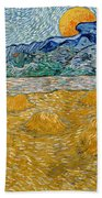 Landscape With Wheat Sheaves And Rising Moon Bath Towel