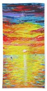 Lighthouse Sunset Ocean View Palette Knife Original Painting Bath Towel