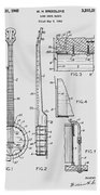 Long Neck Banjo Patent From 1964 Bath Towel