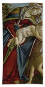 Madonna And Child And The Young St John The Baptist Bath Towel