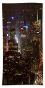 Midtown Manhattan Skyline Aerial At Night Bath Towel