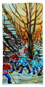 Montreal Hockey Paintings Bath Towel