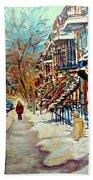 Montreal Street In Winter Bath Towel