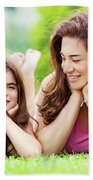 Mother With Daughter Outdoors Bath Towel