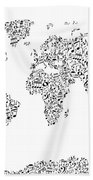 Music Notes Map Of The World Bath Towel