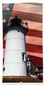 Nobska Lighthouse On American Flag Bath Towel