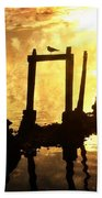 Old Pier At Sunset Bath Towel