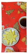 On The Eve Of Christmas. Tea Drinking With Cheese. Bath Towel
