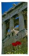 Parthenon With Poppies Bath Towel