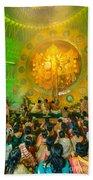 People Enjoying Inside Durga Puja Pandal Durga Puja Festival Bath Towel