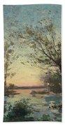 Per Ekstrom, French Landscape In Sunset. Bath Towel