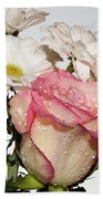 Pink And White Hand Towel