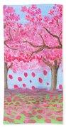 Pink Garden, Oil Painting Bath Towel