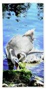 Psychedelic Mute Swan And Cygnet Feeding Bath Towel