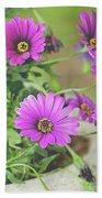 Purple Aster Flowers Bath Towel