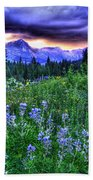 Purple Skies And Wildflowers Bath Towel